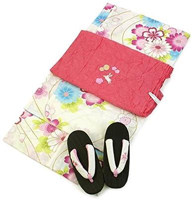 Girl's Cotton Yukata Obi Geta 3item set Japanese Costume Summer Kimono
