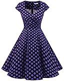 Bbonlinedress Vestido Corto Mujer Retro Años 50 Vintage Escote En Pico Black Purple BDot XS