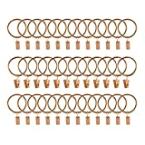 Curtain Rings with Clips, 1.5 Inch Interior Diameter Set of 36 Pack Strong Metal Decorativ...