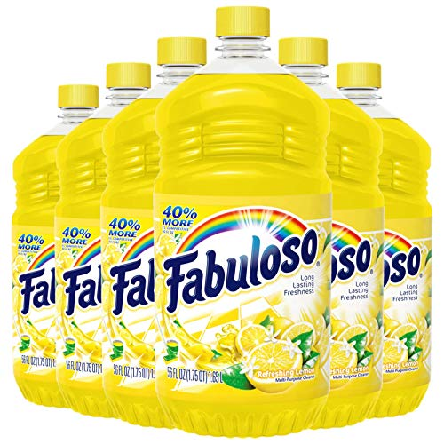 Fabuloso All Purpose Cleaner, Lemon, Bathroom Cleaner, Toilet Cleaner, Floor Cleaner, Shower and Glass Cleaner, Mop Cleanser, Kitchen Pots and Pans Degreaser, 56oz (Pack of 6) (MX06157A), Green