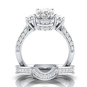Goddesslili 2-in-1 Designed Zirconia Rings for Women Girlfriend Creative Set Ring Accessories Gemstone Vintage Large Wedding Engagement Anniversary Jewelry Gift Under 5 Dollars (7)