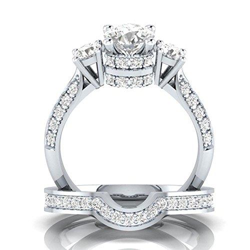 Goddesslili 2-in-1 Designed Zirconia Rings for Women Girlfriend Creative Set Ring Accessories Gemstone Vintage Large Wedding Engagement Anniversary Jewelry Gift Under 5 Dollars (8)