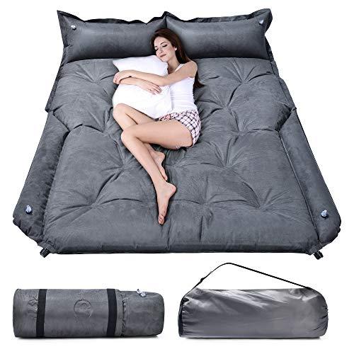 "WOSVOLUNT Full Size SUV Air Mattress Camping Bed, Self Inflating Car Mattress Memory Foam, Car Bed Mattress with Thickened Foam- Car Camping Soft Suede Mattress for RV, SUV, Trunk, Jeep(74""x52""x3"")"
