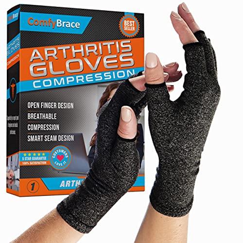 Comfy Brace Arthritis Hand Compression Gloves – Comfy Fit, Fingerless Design, Breathable &...