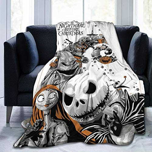 Wakaltk The Nightmare Before Christmas Soft Plush Throw Blanket Warm Lightweight Thermal Fleece Blankets for Couch Bed Sofa All Season 50' x40