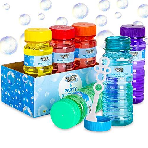 KreativeKraft Seifenblasen Kinder, 6er Pack Outdoor Spielzeug für Garten, Party, Mini Seifenblasen mit Nachfüllflasche, Kindergeburtstag Mitgebsel für Kinder, Garten Spiele, Kinder Geschenke