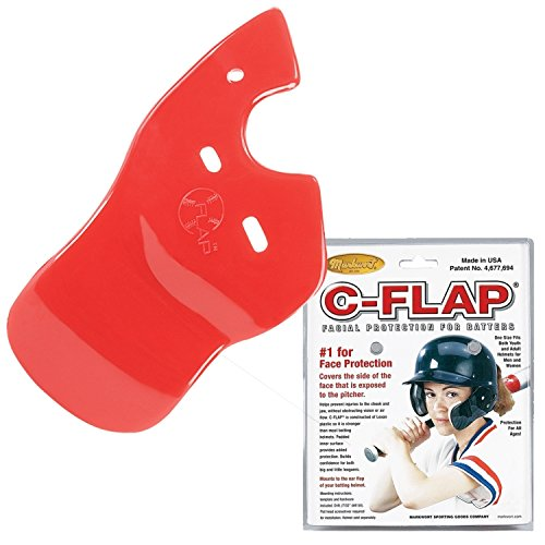 Red Left C-Flap (Right Handed Hitter) Batter's Helmet Face Protector Attachment (Helmet Sold Separately)