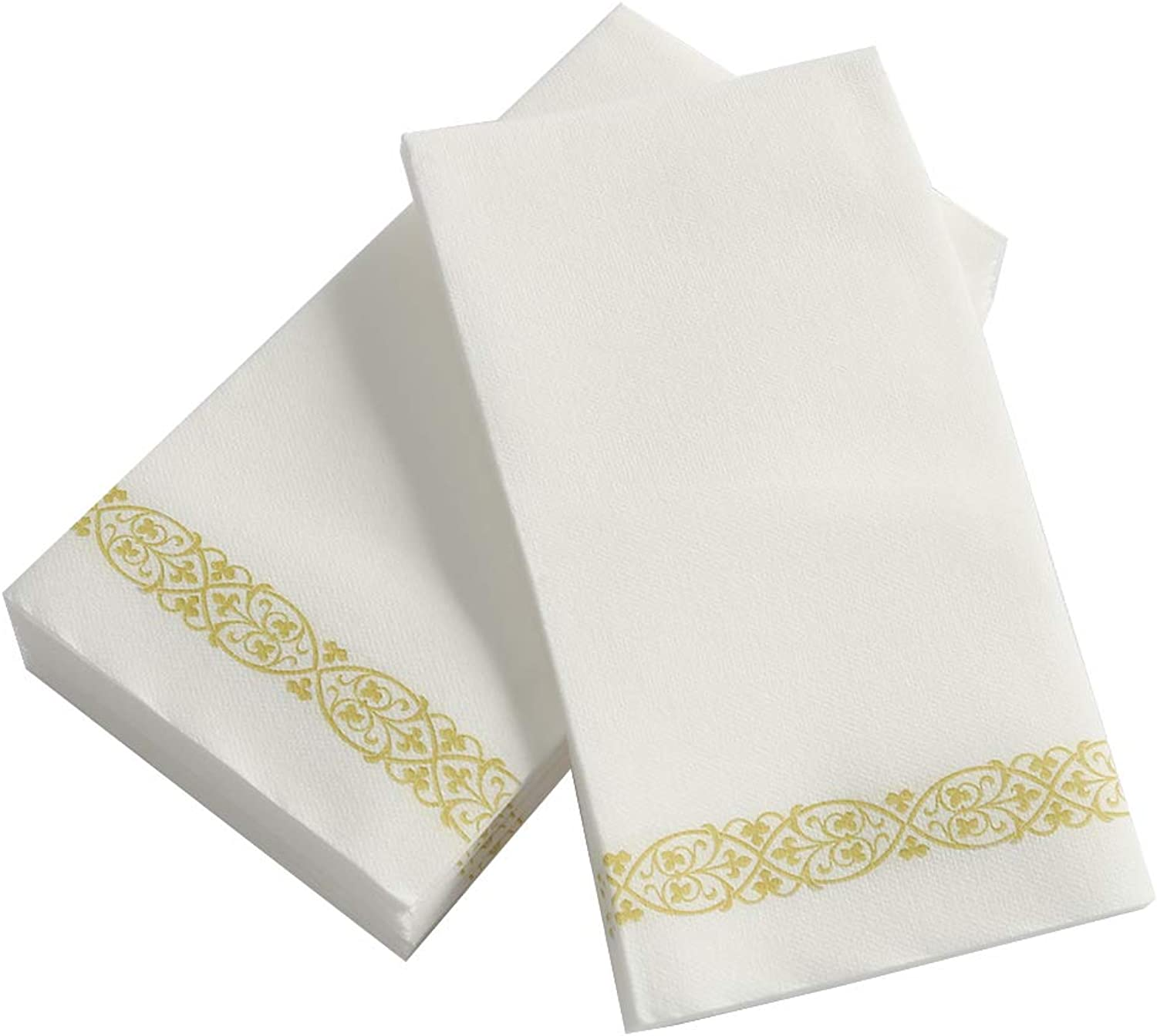 TRLYC Soft and Absorbent Linen Bathroom Hand Towels, gold Floral Disposable Paper Towels Napkins for Guests, 300 Picecs