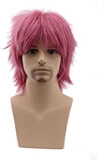 COSPLAZA Perücke Women Men Short Fluffy Hair Anime Cosplay Wigs Party Dress Costume Full Hair Pink