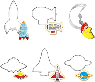 Space Themed Cookie Cutter Set - Set of 6 - Rocket, Planet, Space Shuttle, Blimp, UFO and Man in the Moon - in Durable Stainless Steel