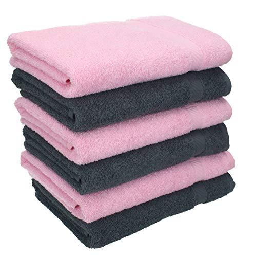 Betz Lot de 6 Serviettes de Toilette Taille 50x100 cm 100% Coton Palermo Couleur: Gris Anthracite et Rose