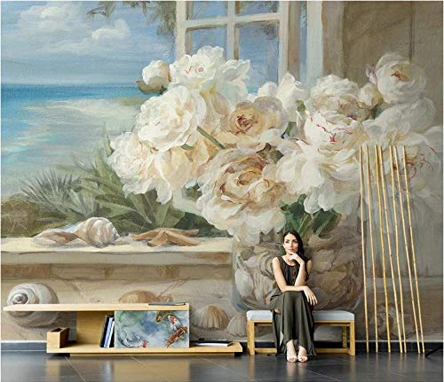 Fototapete Mediterrane weiße Rose 250x175cm Tapete Fototapeten Vlies Tapeten Vliestapete Wandtapete moderne Wandbild Wand Schlafzimmer Wohnzimmer Architektur