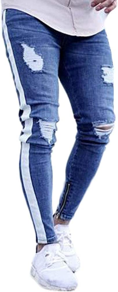 Lisenrain Pantalones De Mezclilla Para Hombre Desgastados Corte Ajustado Con Rayas Con Cremallera Al Tobillo Para Hombre Amazon Com Mx Ropa Zapatos Y Accesorios