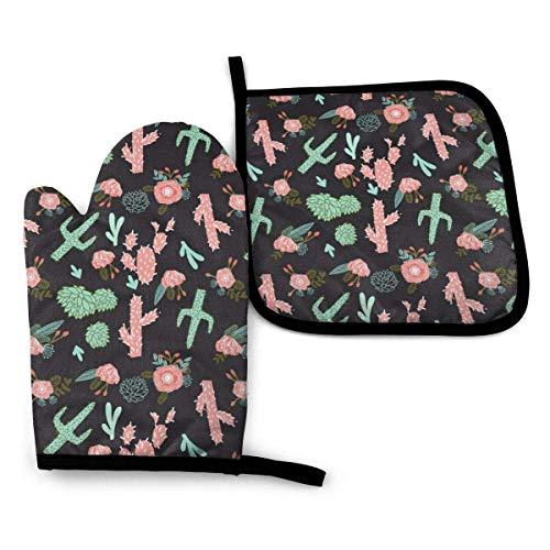 uytrgh - Set di guanti da cucina con cactus, in tessuto floreale a forma di cactus, resistente al calore e antiscivolo