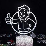 Lámpara de ilusión 3D Fallout Pip Boy Game Mark Regalo creativo para un amigo Dormitorio Mesita de noche Decoración de escritorio-Grieta blanca _7_Color_No_Remote