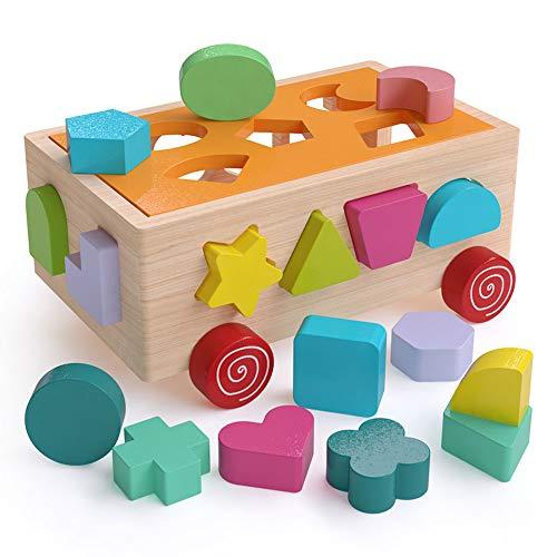 JSKLDF Coche de bloques de construcción Bloque de construcción de bebé de madera Juguete de cubo de actividad para bebés Juguete de desarrollo de madera Regalo de cumpleaños para niños Coche de clasif