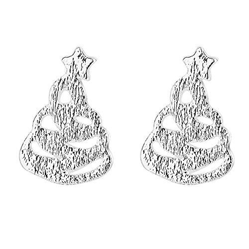 MYA art Damen Kinder Ohrstecker 925 Silber mit Weihnachtsbaum Christbaumkugel Ohrringe klein glänzend gebürstet Weihnachten MYASIOHR-150