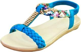 Inlefen Women's Sandals Rhinestone National Wind Sandals Elastic Flat Shoes
