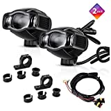 "TSIALEE 4"" 20W Motorcycle Headlights, LED Auxiliary Lights with Metal Brackets, Aluminum Casting Housing, Rugged Design for BMW Kawasaki Harley Honda Suzuki Yamaha KTM All Model (Pack of 2)"