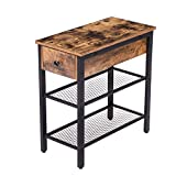 HOOBRO Side Table, Industrial End Table with Drawer and 2 Open Mesh Shelves, Narrow Nightstand for Small Spaces, Bedroom, Living Room, Office, Space Saving, Stable Metal Frame, Rustic Brown BF44BZ01