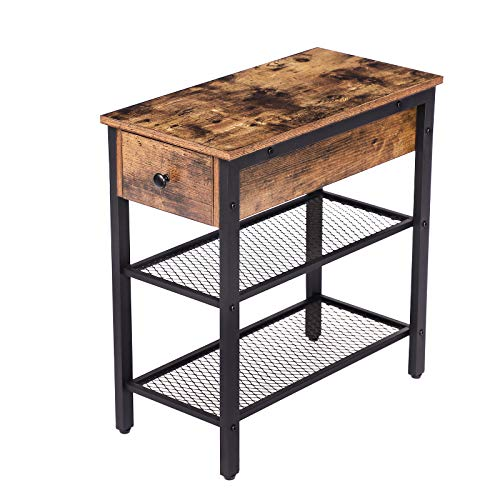 HOOBRO Side Table, Narrow End Table, Industrial Nightstand, with Drawer and 2 Open Shelves, Bedside Table for Small Spaces, Bedroom, Living Room, Stable Metal Frame, Rustic Brown EBF44BZ01
