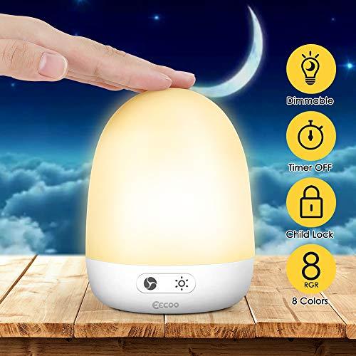 Nachtlicht Kind LED Nachttischlampe, Wiederaufladbare USB Kinder Lampe mit Touch Control, Dimmbar, Warm-Licht und Farbwechsel Modi Nachtlicht Baby für Kleinkinder und Kinder, Wohnräum Geschenk Deko