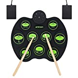 ammoon Portable Electronic Drum Set Digital Roll-Up Touch Sensitive Practice Drum Kit 9