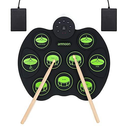 ammoon Batteria Elettronica, Portatile da Tavolo Pieghevole Digitale Tamburo Set con Roll-Up Toccare Sensibile 9 Praticare Drum Pads 2 Pedali per Principianti Bambini (Senza Altoparlanti)