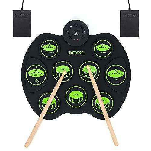ammoon Portable Electronic Drum Set Digital Roll-Up Touch Sensitive Practice Drum Kit 9 Drum Pads 2 Foot Pedals for Kids Children Beginners (No Speakers)