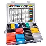 Huryfox 580 Piezas de Tubo Industrial Termocontraíble, Kit de Manguitos para Cables Eléctricos con Caja
