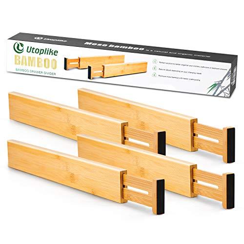 Utoplike Separadores de Cajones de Cocina de Bambú (31.1-43.8 cm), Organizador de Cajones Ajustable, Organizador de Cajones de Utensilios de Cocina con Resorte (paquete de 4)