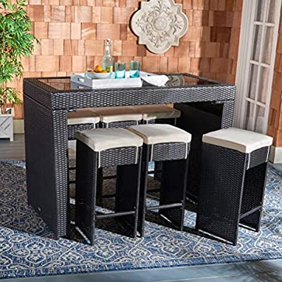 Safavieh PAT7502A Outdoor Collection Horus Black and Beige Cushions 7-Piece Dining Set