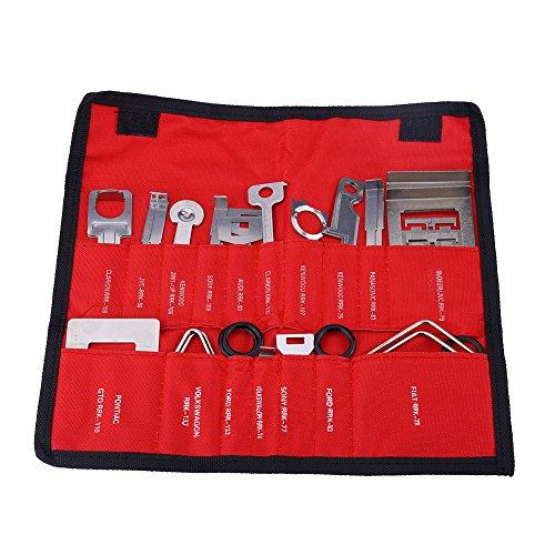 Auto Radio Demontagewerkzeug, Keenso 38 Stücke/Set Kohlenstoffstahl Auto Radio Stereo Entfernung Installateur Werkzeug Set mit 10 verschiedenen Spezifikationstools (rot)