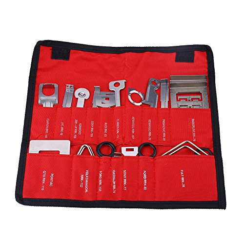 Auto Radio Demontagewerkzeug, Keenso 38 Stücke Kohlenstoffstahl Auto Radio Stereo Entfernung Installateur Werkzeug Set (rot)