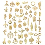 Wholesale Bulk 50PCS Mixed Gold Charms Pendants DIY for Jewelry Making and Crafting