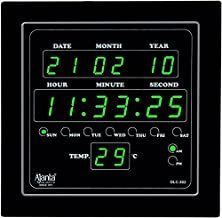 Ajanta Quartz Digital Green LED Square Wall Clock OLC - 302 (25.4 cm x 25.4 cm x 3.5 cm)