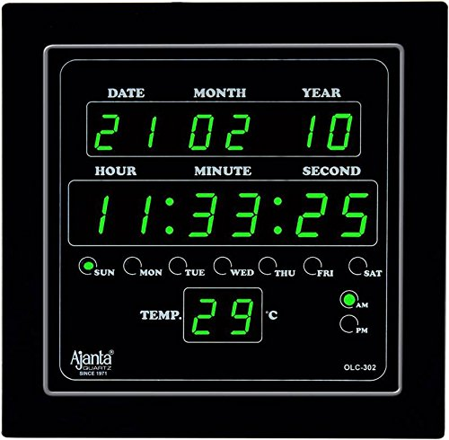 Ajanta Quartz Digital Green LED Square Wall Clock OLC - 302 (25.4 cm x 25.4 cm x 3.5 cm)
