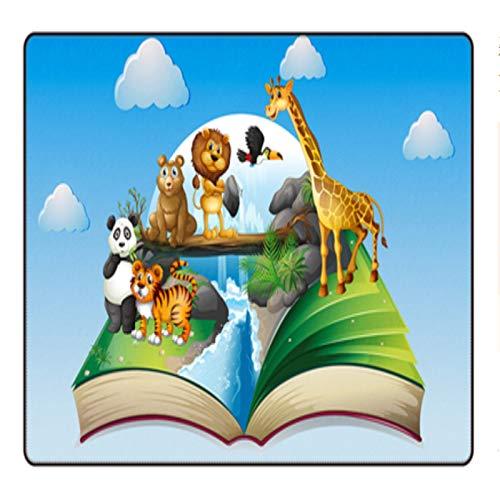 ZZXC Alfombra Dormitorio Sala De Estar Manta De Cabecera Habitación para Niños Jardín De Infantes Alfombra Rectangular Patrón De Animales De Dibujos Animados Antideslizante Lavable