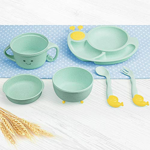 SPARKJOY 6-Piece Divided Plate Bowl Set For Toddler Kids-BPA Free, Microwave Safe, Non Plastic, Natural Wheat, Unbreakable Dishes Dinnerware Set for Girls Boys, Kids Utensil Forks and Spoons (Green)