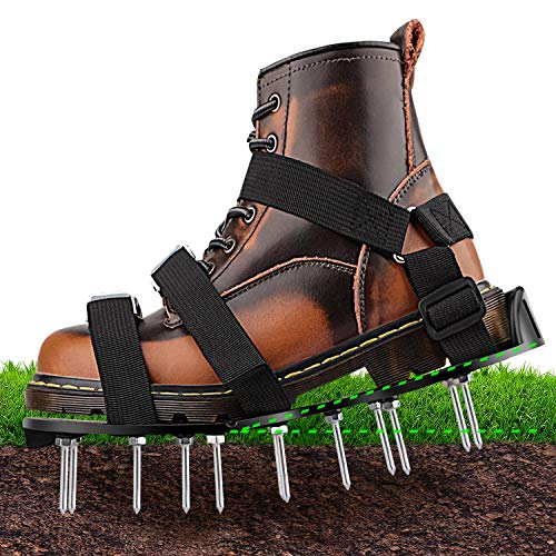 NEUFLY Lawn Aerator Shoes, Newest Foldable Ergonomics Lawn Aerator Scarifier Free Size Lawn Aerator Spike Shoes for Lawn or Yard - Black