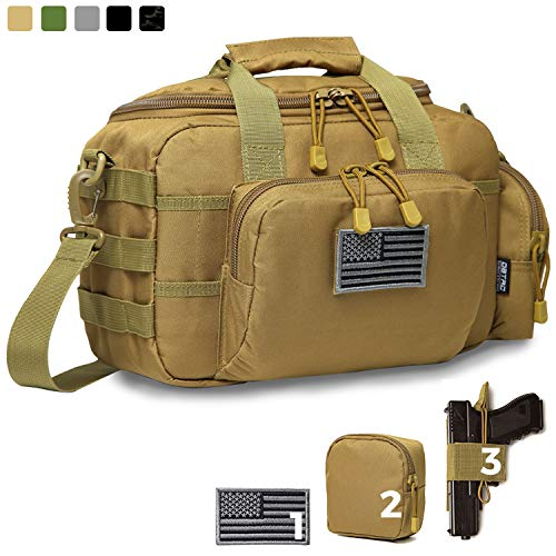 DBTAC Gun Range Bag Small | Tactical 2X Pistol Shooting Range Duffle Bag with Lockable...