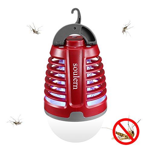 Camping Antimosquitos Lámpara,Farol 2 en 1, impermeable,el hogar y el aire libre,Batería recargable con cable USB,,gancho retráctil