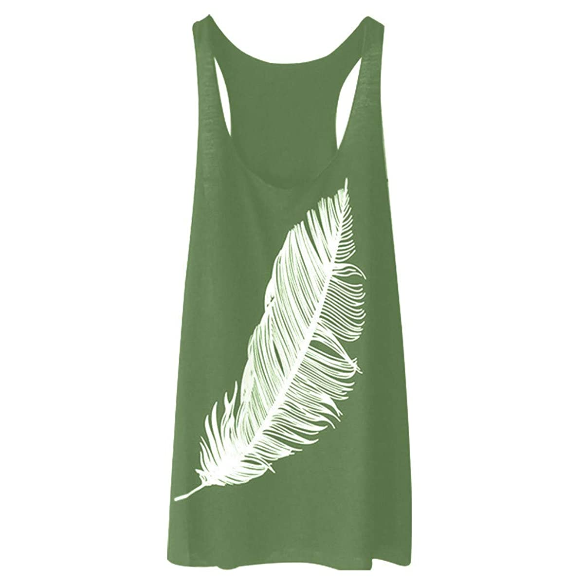A.M.Feker Women's Summer Feather Print Long Vest Fashion Ladies Top Funny Humor