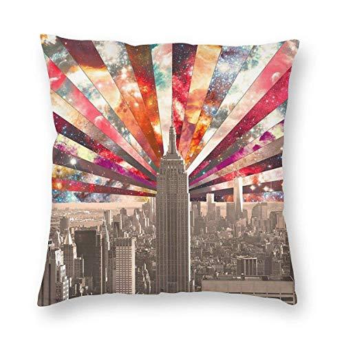 GOSMAO Fundas para Cojines Nueva York Funda de cojín con impresión clásica Fundas de Almohada Decorativas para Regalos sofá decoración 45 * 45cm