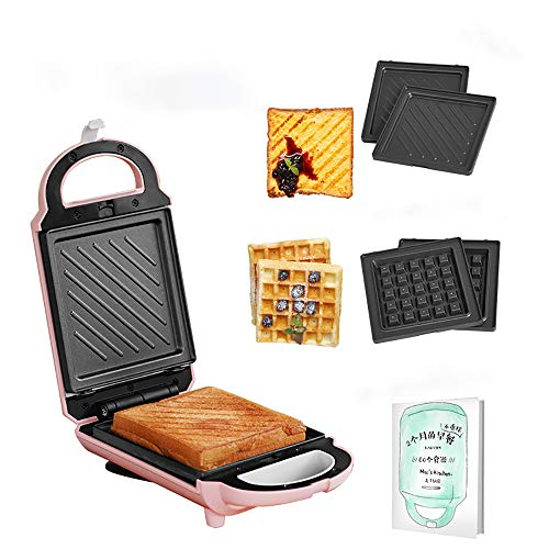 SWEET Sandwichera 3 En 1, Sándwiches De Placa Desmontable De 650 Vatios, 2 Bandejas para Hornear Desmontables Durante 3 Minutos para Comer Gofres Y para Cocinar Al Grill para El Hogar Y Los Viajes