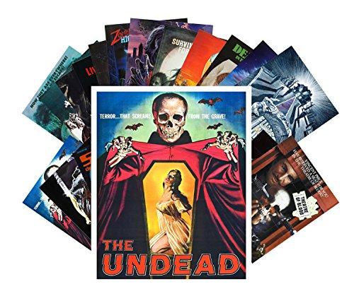 Price comparison product image Postcard Pack 24pcs Zombien Skeletons Undead Vintage Horror Movie Poster
