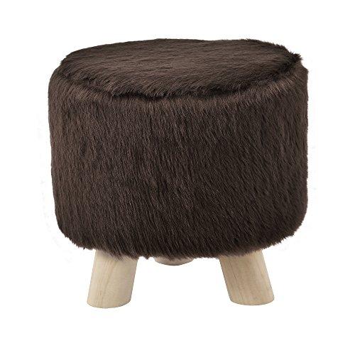 [en.casa] Stylischer Hocker inkl Sitzfläche aus Kunstfell braun mit Holzbeinen
