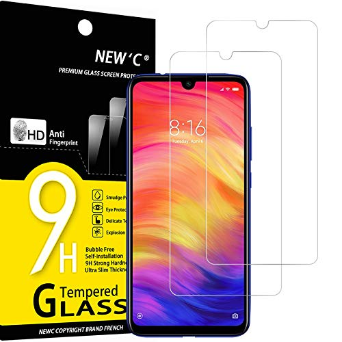 NEW'C 2 bucăți, sticlă securizată compatibilă cu Xiaomi Redmi Note 7, film anti-zgârieturi, anti-amprentă, duritate 9H, 0,33mm Ultra ...