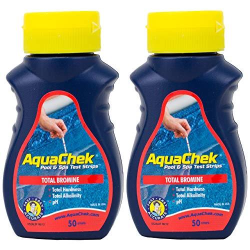 Paquete de 2 tiras de prueba de bromo AquaChek 4 en 1 para piscina y bañera de hidromasaje de agua – 2 botellas de 50 unidades (100 pruebas en total)