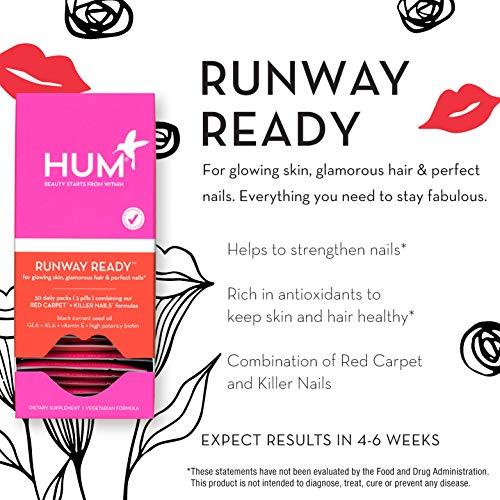 HUM Runway Ready Set - Support Strong Hair, Skin & Nails Vitamins - Vitamin Pack Blend of Vegan Biotin, Black Currant Seed Oil & Sunflower Seed Oil (30 Day Supply, Vegetarian Softgels)
